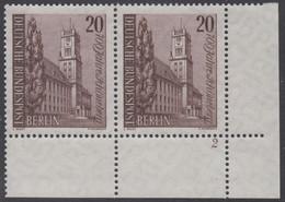 !a! BERLIN 1964 Mi. 233 MNH Horiz.PAIR From Lower Right Corner W/ Formnumber -Town Of Schoeneberg - Ongebruikt