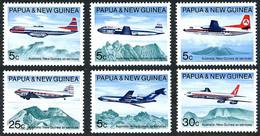 Papouasie Papua New Guinea 1970 Douglas DC-3, DC-6b, Boeing 707, 727, Friendship,  (YT 178, Mi 179, SG 177, Scott 303) - Airplanes