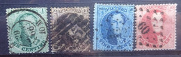 BELGIE  1863       Nr. 13 - 16 B   Tand. 12 1/2 - 14 1/2        Gestempeld   CW 66,00 - 1863-1864 Medallions (13/16)