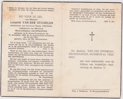 Doodsprentje Leopold Van Der Stichelen. St. Maria-Oudenhove, +St. Maria-Oudenhove. Wed. Vekeman, Echtgen. Machtelinckx. - Esquela
