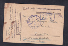 Guerre 14-18 Correspondance Prisonnier De Guerre Mannheim Maurice Leriche Troisvilles 3è R.I.T  (45878) - Guerra 1914-18