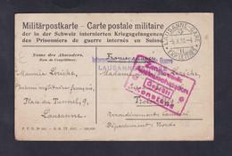 Guerre 14-18 Correspondance Prisonnier De Guerre Inerné En Suisse Lausanne Maurice Leriche Troisvilles 3è R.I.T  (45879) - Guerra 1914-18