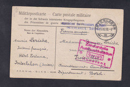 Guerre 14-18 Correspondance Prisonnier De Guerre Interné En Suisse Interlaken Hotel Fortuna Maurice Leriche Troisvilles - Guerra 1914-18