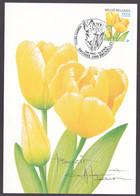 Carte Maximum  FLEURS - BUZIN André - Tulipe Darwin - Timbre N°3223 - Oblitération Brussel - SIGNEE BUZIN - 2001-2010