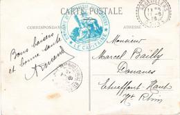 CP Ill (douanes Fahy) Cachet Bleu Le Capitaine Compagnie De Forteresse De Douaniers Tàd Perlé Abbévillers 11/6/1916 - 1. Weltkrieg 1914-1918