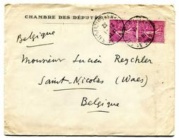 1932 Enveloppe Du CHAMBRE DES DEPUTES Avec Cachet Paris Sur 2 Timbres 75c Semeuse Naar Saint Nicolas - Briefe U. Dokumente