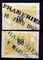 """TR 24 (2x) - """"FRAMERIES"""" - Cachet Bleu Et Noir - (ref. ZE-33.912) - 1895-1913"""