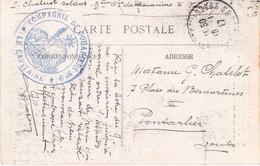 CP Ill En FM Cachet Bleu Du Capitaine De La 9e Compagnie De Douaniers Tàd St Hippolyte-sur-le-Doubs 16/1/1917 - 1. Weltkrieg 1914-1918