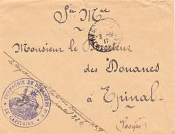 Env En FM Cachet Violet Du Capitaine De La 9e Compagnie De Douaniers Tàd Tresor Et Postes 226 Du 3/8/1917 - WW I