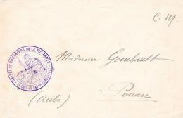Env En FM Cachet Violet Du Chef De Bataillon Commandant Les Unités De Douaniers De La VIIe Armée Juin 1918 - 1. Weltkrieg 1914-1918