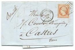 N° 16 ORANGE NAPOLEON SUR LETTRE / CARCASSONNE POUR CASTRES / 17 JUIN 1855 - 1849-1876: Klassieke Periode