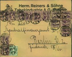 """1923, 22.6., Brief Der """"Tabakindustrie AG, Ratibor"""" Mit Umfangreicher Frankatur Nach Berlin - Silesia (Lower And Upper)"""