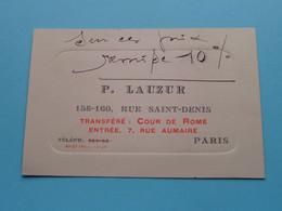 P. LAUZUR Rue Saint-Denis 158-160 PARIS ( Fabr. D'Etalages Et Vitrines ) - ( Voir Photos ) ! - Visiting Cards