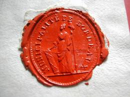 BORDEAUX CACHET DE CIRE 1793 MUNICIPALITE DE BORDEAUX SUR FRAGMENT AVEC AUTOGRAPHE DU MAIRE FRANCOIS ARMAND DE SAIGE - Timbri Generalità