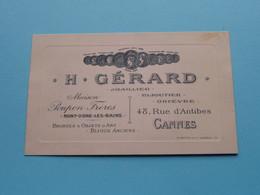 H. Gérard JOAILLIER Maison POUPON Frères MONT-DORE-LES-BAINS / Rue D'Antibes CANNES Bijoutier ( Voir Photos ) ! - Visiting Cards