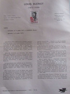 DOCUMENT DE LA POSTE  1972 N° 20  LOUIS BLERIOT  (aviation,avion,traversée De La Manche) - Documentos Del Correo