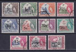 BASUTOLAND 1961, SG# 58-68b, CV £42, Surcharged, Fauna, Flora, Used - 1933-1964 Kolonie Van De Kroon