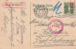 SUISSE 1915   ENTIER POSTAL/GANZSACHE/POSTAL STATIONARY  CARTE CENSUREE DE BERN - Stamped Stationery