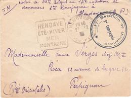 Env Avec Contenu En FM Cachet 2e Compagnie Du 17e Bataillon De Douaniers Daguin Hendaye 27/12/1939 Pour Perpignan - WW II