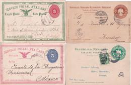 MEXICO  - ENTIERS POSTAUX - 4 CARTES CIRCULEES => FRANCE / PORTUGAL / MEXICO - Mexico