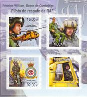 Mocambique  -  Príncipe  William, Duque De Cambridge  -  Helicopter Piloto De Resgate Da RAF -  4v Bloc  Neuf/MNH/Mint - Hubschrauber