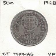 Sao Tome And Principe 50 Centavos 1928, KM#1, Scarce - Sao Tome And Principe