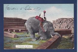 CPA Birmanie Myanmar Burma éléphant Métier Circulé - Myanmar (Burma)