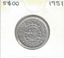 Sao Tome And Principe 50 Centavos 1951, KM#13, 72K Mintage, Scarce - Sao Tome And Principe