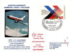 Hamburg Paris Toulouse 1973 - Airbus Lufthansa Air France - Sonderdienst - Flight 1er Vol Erstflug - Letter - Machine Stamps (ATM)