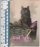 NOVELTY GLASS GREEN EYED BLACK CAT IN BASKET - Gatos