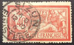 119 ° 4 Finistère Sizun Merson 40c Rouge Et Bleu 12/10/1916 Oblitéré - 1877-1920: Semi-Moderne