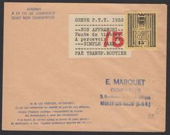 Maine Et Loire : Enveloppe Affranchie Avec Timbre 15F De Saumur Pour La Grève Des Poste De 1953 +Papier De Transport Rou - Strike Stamps