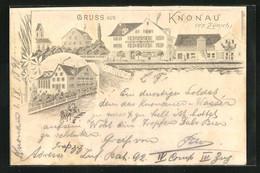 Lithographie Knonau / Zürich, Gasthof Adler, Mehrfachansicht - ZH Zurich