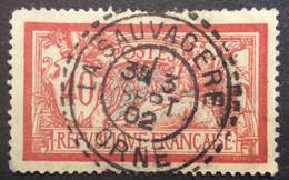 119 ° 6 Orne La Sauvagère Tireté Merson 40c Rouge Et Bleu 3/9/1902 Oblitéré - 1877-1920: Semi-Moderne