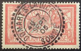 119 ° 8 Somme Domart S La Luce  Tireté Merson 40c Rouge Et Bleu 7/9/1905 Oblitéré - 1877-1920: Semi-Moderne