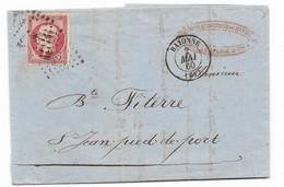 N°17 (TB) Sur Lettre De Bayonne 1860, Voir Photos - 1849-1876: Periodo Clásico