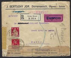 SUISSE 1916: LSC  D'Aarau Pour Paris, Avec Censure Française - Covers & Documents