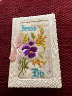 Carte Bonne Fête Brodée Fleurs Pensée - Fleur Séchée à L'intérieur - écrite 1931 - Bordados