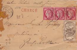 23190# CERES N°57 BANDE DE 3 + 56 * 2 DEVANT DE LETTRE CHARGE VD 1000 Frs Obl ST LEGER SOUS BEUVRAY SAONE ET LOIRE - 1849-1876: Classic Period