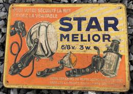 Plaque Embossée 1933 : Pour Votre Sécurité La Nuit, Exigez La Véritable Star Melior. - Moto & Vélo