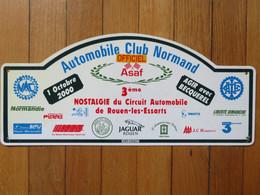 """Plaque De Rallye Automobile 1 Octobre 2000 """"Officiel"""" 3è Nostalgie Circuit 76 Rouen-les-Essarts Automobile Club Normand - Plaques De Rallye"""