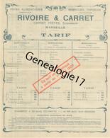 13 3530 MARSEILLE 1907 Tarif Pates Alimentaires CARRET FRERES - RIVOIRE - CARRET Semoulerie Vermicelle Nouille Tapioca - 1900 – 1949