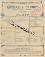 13 3531 MARSEILLE 1909 Tarif Pates Alimentaires CARRET FRERES - RIVOIRE - CARRET Semoulerie Vermicelle Nouille Tapioca - 1900 – 1949