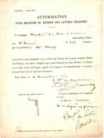 POSTE . 1857 . AUTORISATION RETIRER LETTRES CHARGEES . PARIS - Documenti Storici