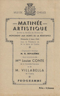 PROGRAMME  MATINÉE ARTISTIQUE VILLE DE CHELLES  DE 1945 - Programma's