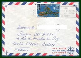 Nouvelle Calédonie N° 410 Seul / Lettre Nouméa 1978  > France Caen Orchidée - Cartas