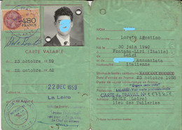 FISCAUX DE FRANCE CARTE DE SEJOUR 1959 SERIE UNIFIEE N°362 480F  ORANGE - Fiscaux