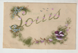 Belle Carte Sur Celluloïd  Prénom LOUIS Fleurs Peintes - Voornamen