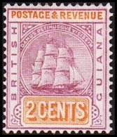1889-1902. BRITISH GUIANA. Fregat Sandbach 2 CENTS Hinged.  (Michel 83) - JF416080 - British Guiana (...-1966)