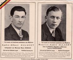 Oorlog 40 / 45 - Kamp - ALLAERT André ° Loppem 1916 En ALLAERT Maurice  ° Oostkamp 1928 - Beiden  + Mauthausen 1945 - Religión & Esoterismo